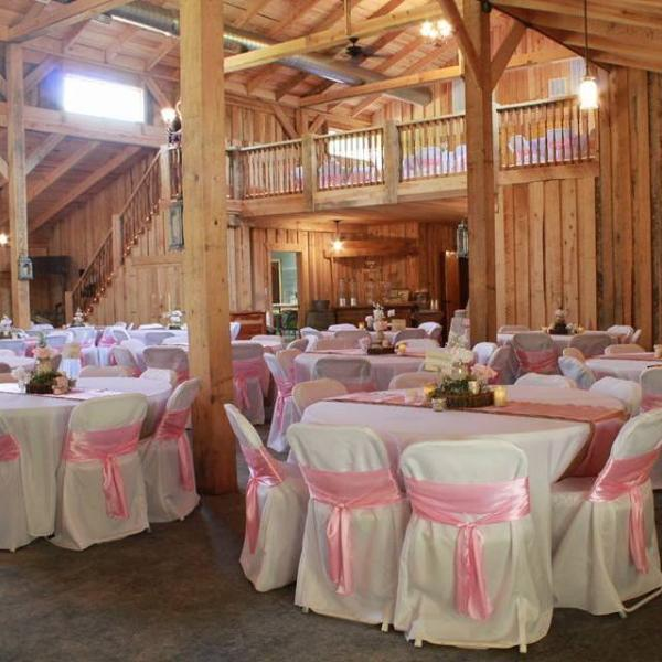 [Image: Whether you want an outdoor wedding or an intimate barn gathering, don't forget about the reception! Our barn rivals any reception hall and can accommodate up to 300 guests! ]